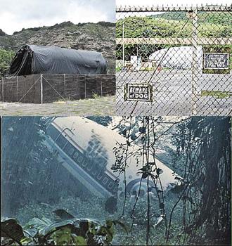 Все части «разбившегося» лайнера рейса 815 сейчас спрятаны в защитные чехлы. Ждут начала съемок новых серий. На фото внизу - кадр из фильма.
