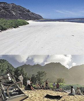 На месте киношного крушения самолета (фото снизу) - пустынный пляж.