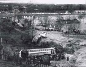Трамвайное депо им. Красина за несколько секунд превратилось в озеро грязи.