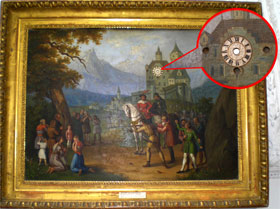 Часы-картина «Вильгельм Телль - полулегендарный герой». Часы вмонтированы в нарисованную башню (Австрия, XVIII-XIX век).