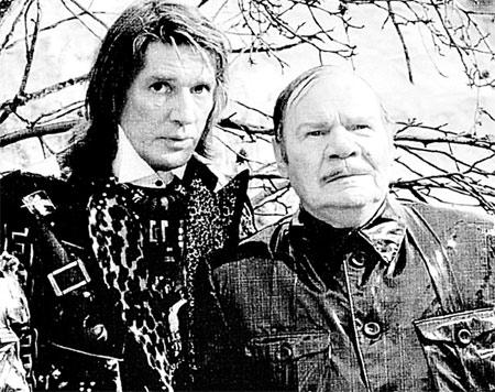 Абдулов с Михаилом Пуговкиным на съемках фильма «Бременские музыканты».