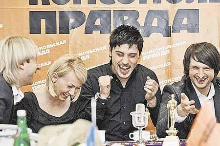 Евгений Плющенко, Яна Рудковская, Дима Билан и Эдвин Мартон в гостях у «Комсомолки»