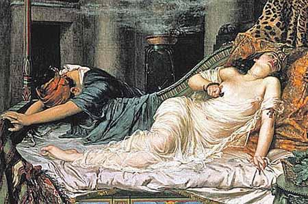«Смерть Клеопатры», Р. Артур, 1892 г. На картине видно, что женщина приложила к груди змею