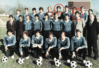 Гришко и Прокопенко в составе «Черноморца» образца 1989 года.