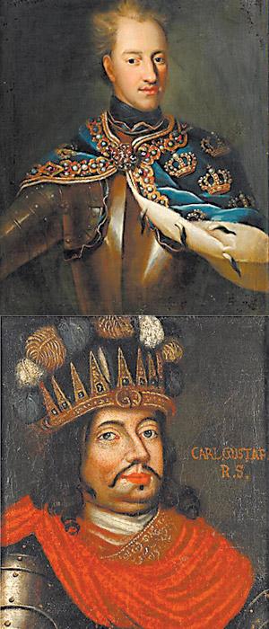 Шведский король Карл XII (сверху) и его коллега Карл X Густав.