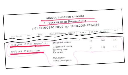 Одними из главных доказательств невиновности Леси стали два звонка по мобильному, которые она сделала в момент задержания (на фото - фрагмент справки, выданной мобильным оператором).