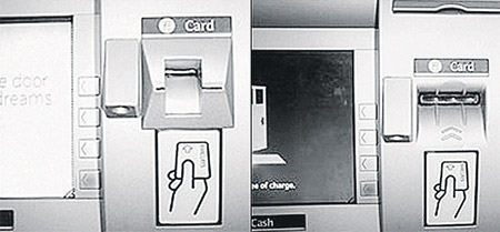 В этом банкомате (слева) мошенники установили скиммер - устройство, считывающее информацию с карт. А в этом банкомате (справа) можно смело снимать наличные: скиммера здесь нет.