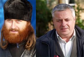 Активист Владимир (справа) возмущен, что отец Петр незаконно начал пользоваться землей в сквере.