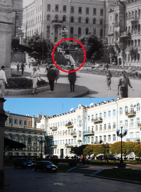 Лестницу возле Оперного театра теперь можно увидеть только в старых кинофильмах.