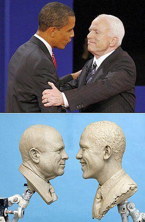 Обама и Маккейн в жизни (сверху) и в Музее мадам Тюссо.
